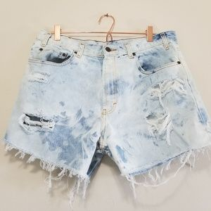 Pants - Distressed highrise mom jean shorts